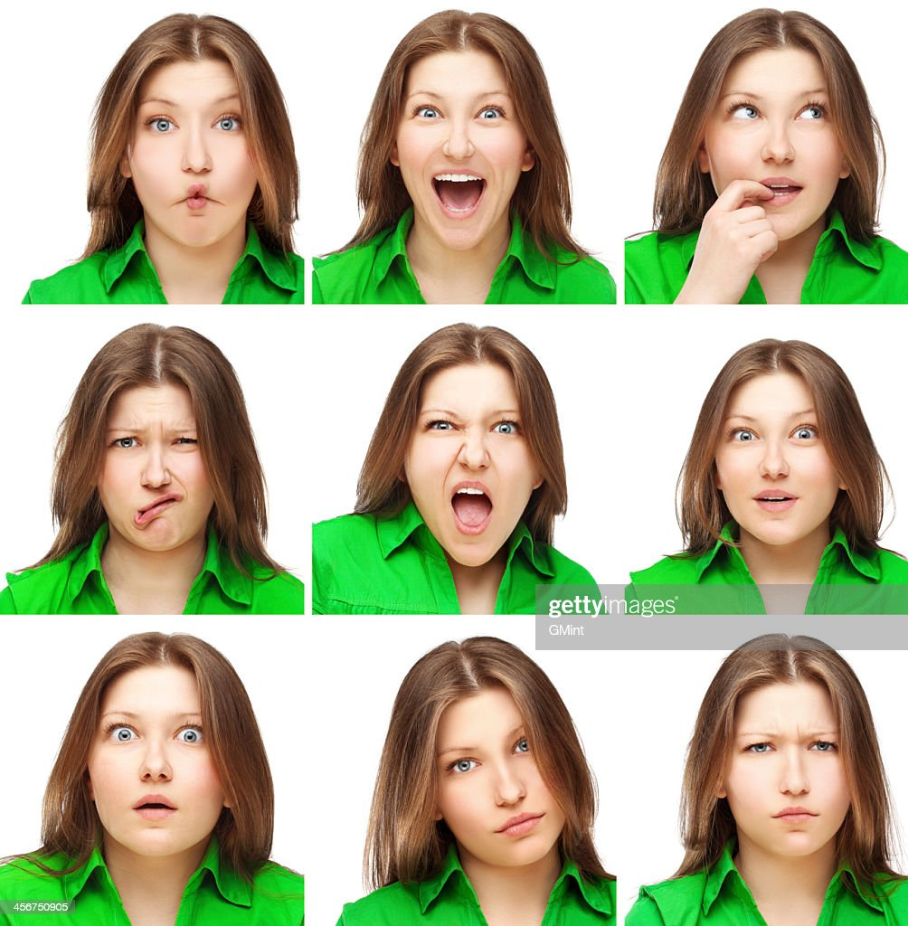 A collection of expressions a young girl wearing green shirt