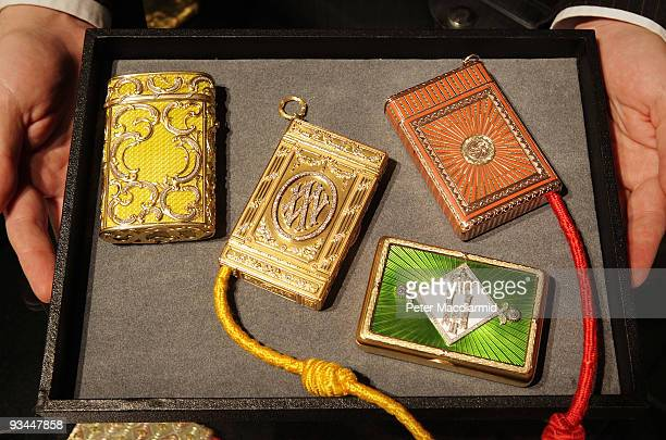 A collection of Faberge cigarette cases is displayed at Sotheby's on November 27 2009 in London This collection belonged to Her Imperial Highness...