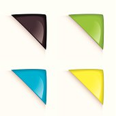 Collection of four colorful paper corner icons with reflection