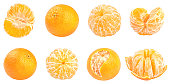 Collection of fresh mandarins isolated on white background. Set of multiple images. Part of series