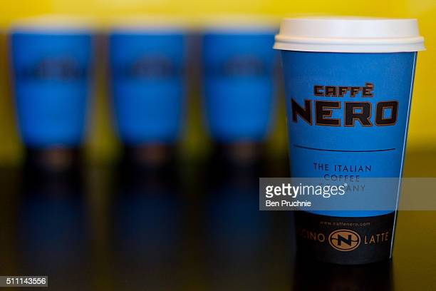 A collection of grande sized Cafe Nero take away cups on February 18 2016 in London England Yesterday Action on Sugar announced the results of tests...