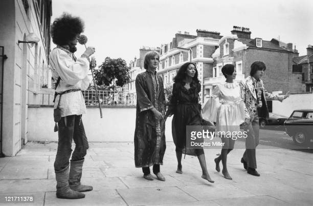 A collection of hippy fashions for girls and boys by Ossie Clark Alice Pollock and Michael Rainey on show in London 7th September 1967 Four models...