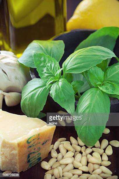 Collection of ingredients to make pesto