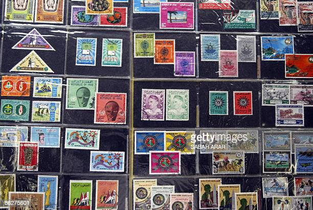 A collection of Iraqi stamps are put on display at the Baghdad Central Post Office marking the opening of a Philately exhibition on April 29 2009 The...
