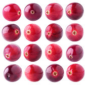 Isolated cranberry collection. 16 fresh cranberry fruits of various colors isolated on white background with clipping path