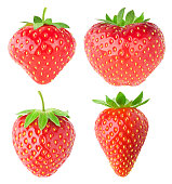Isolated strawberries. Collection of strawberry fruits of different shaped isolated on white background with clipping path