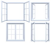 3D render of isolated window white open frames