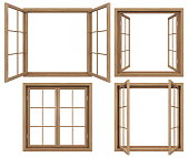 3D render of isolated wooden open windows