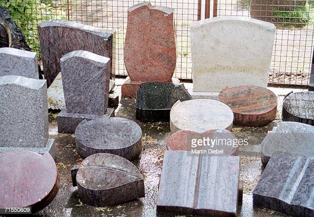 Collection of marble tombstones