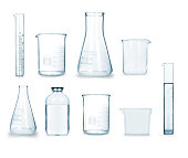 collection of medical glass on a white background