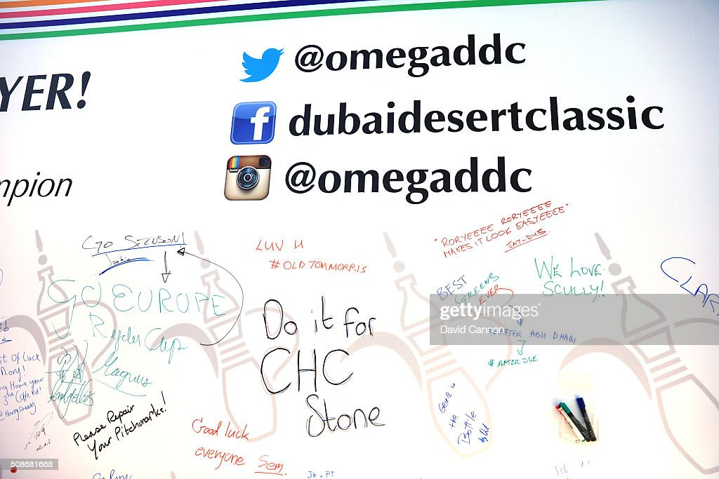 A collection of messages left on the large message board where fans can leave messages for the players placed behind the driving range during the third round of the 2016 Omega Dubai Desert Classic on the Majlis Course at the Emirates Golf Club on February 6, 2016 in Dubai, United Arab Emirates.