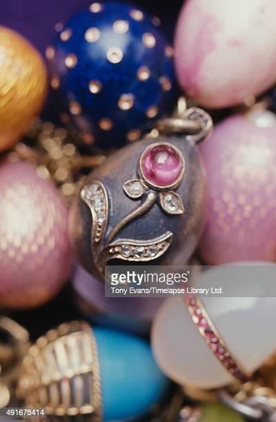 A collection of miniature Fabergé eggs circa 1980