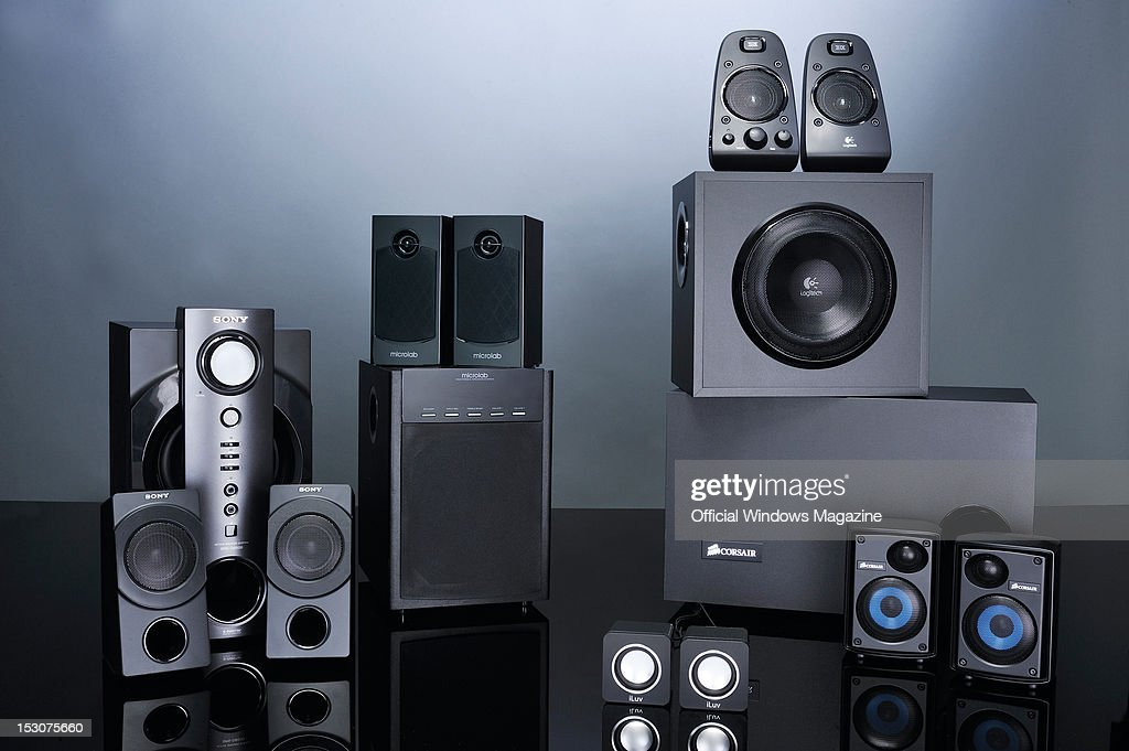 A collection of PC speaker systems. (L to R) Sony SRS-DB500, MicroLab X16, iLuv Boom Cubes, Logitech Z623 and Corsair SP2500. Photographed during a studio shoot for Official Windows Magazine, February 15, 2012.