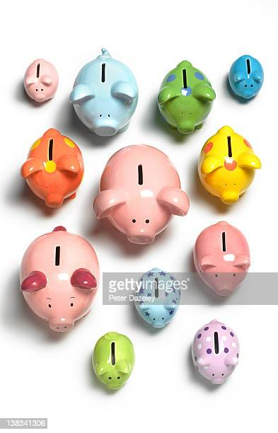 Collection of piggy banks from above