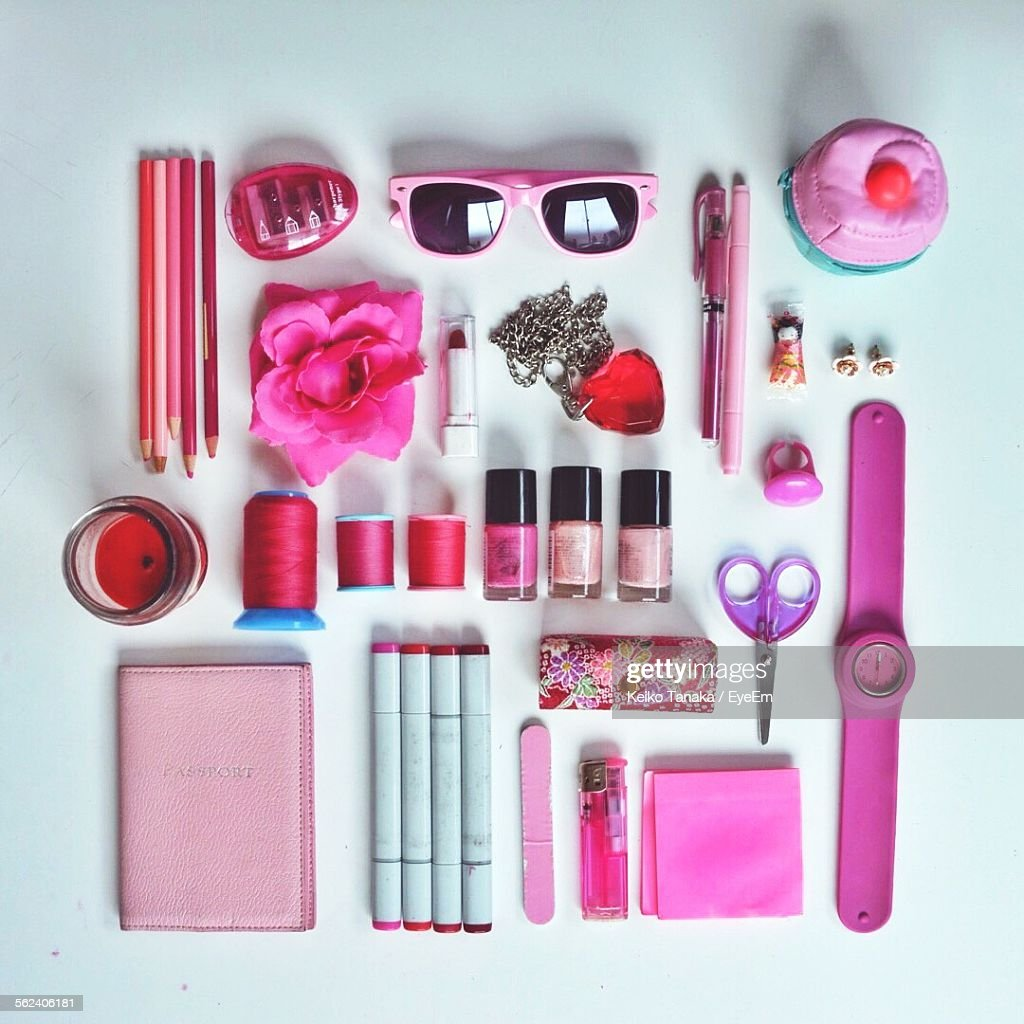 Collection Of Pink Accessories Arranged In Order For Personal Use : Stock Photo