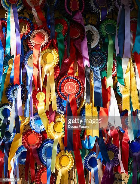 Collection of prize rosettes on pin board.
