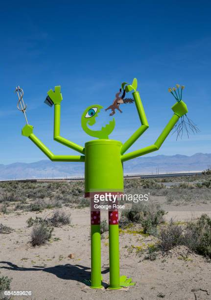 A collection of quirky metal sculptures near Walker Creek are viewed along Highway 395 on April 4 near Olancha California Owens Valley is an arid...