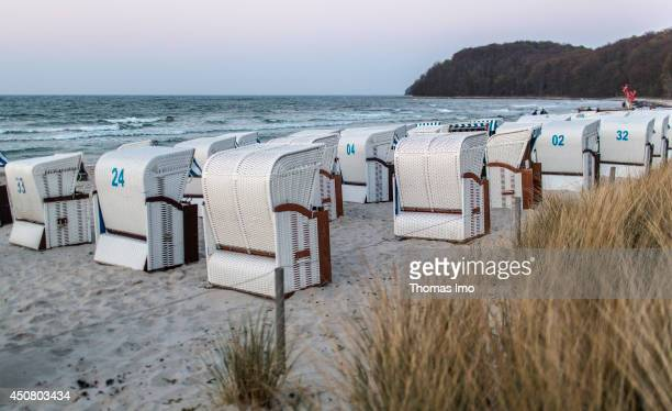 A collection of roofed wicker beach chairs on the beach in Binz on the island of Ruegen as seen on April 19 2014