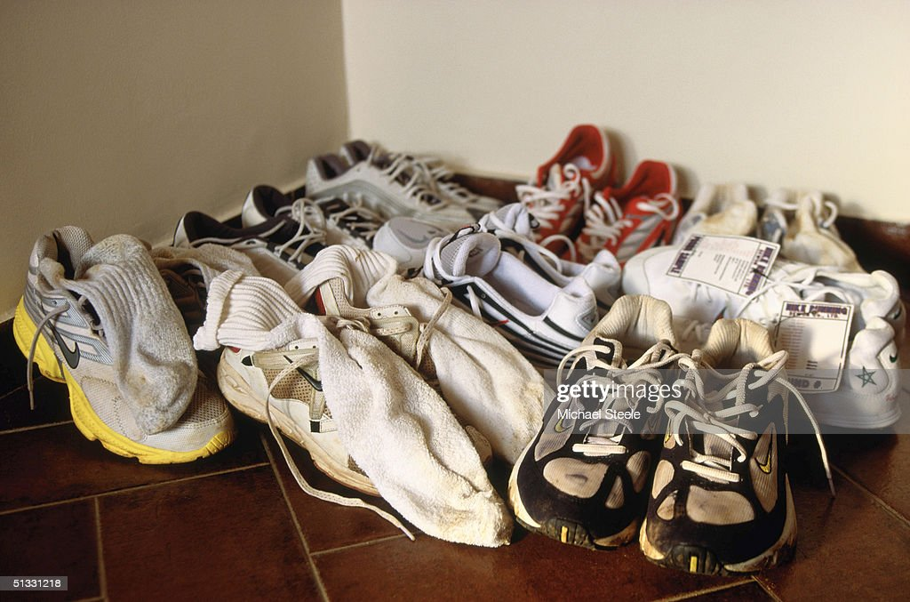 A collection of running shoes belonging to athlete Hicham El Guerrouj of Morocco at the training centre in Ifrane, Morrocco on January 15 2002. Photo by Michael Steele / Getty Images