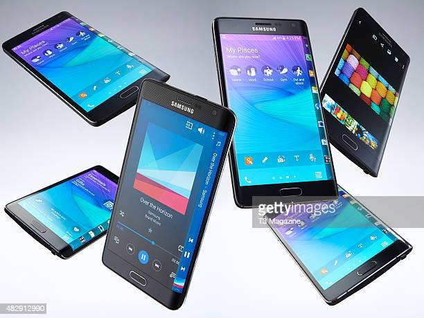 A collection of Samsung Galaxy Note Edge smartphones taken on November 25 2014