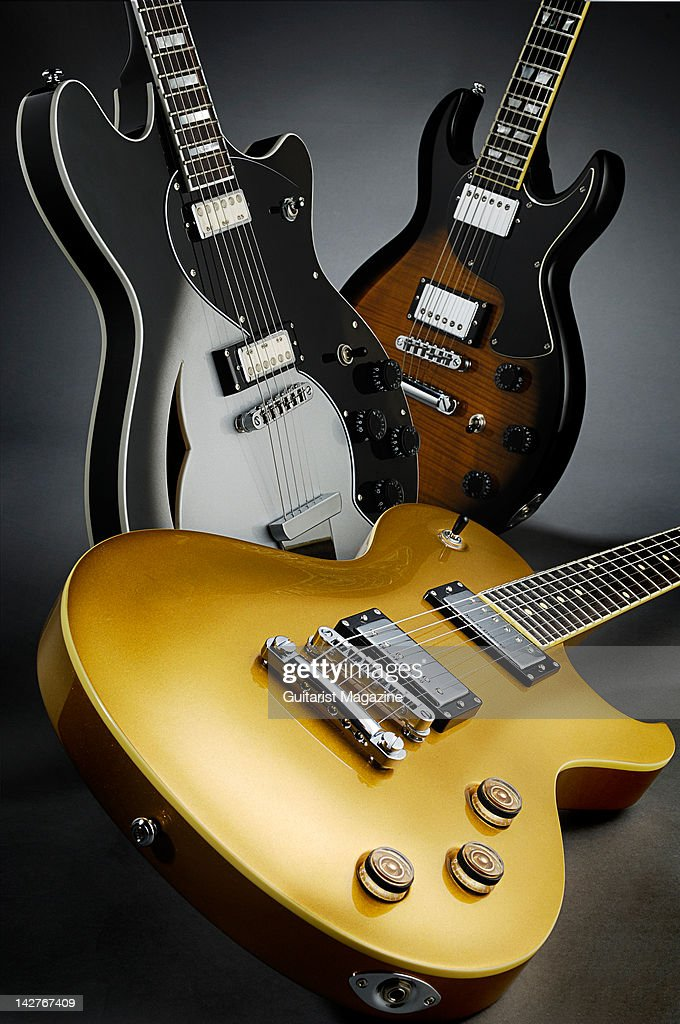 A collection of Schecter electric guitars. (L to R) TSH-1, Solo 6 Standard and S-1 Custom. During a studio shoot for Guitarist Magazine, September 28, 2011.
