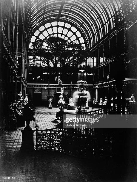 A collection of sculptures in a southern transept of the Crystal Palace in London's Hyde Park The massive iron and glass structure was designed by...