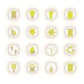 Collection of sixteen eco style buttons with a slight glow
