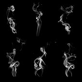 Smoke - Physical Structure, Wave Pattern, Black Background, White Color, Curve, Backgrounds, Cigarette, Fumes, Pollution, Smog, Steam, Smoking - Activity