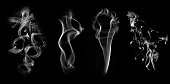 Collection of smoke patterns isolated on black