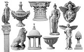 Collection of statues isolated on white background, image include clipping path for remove background.