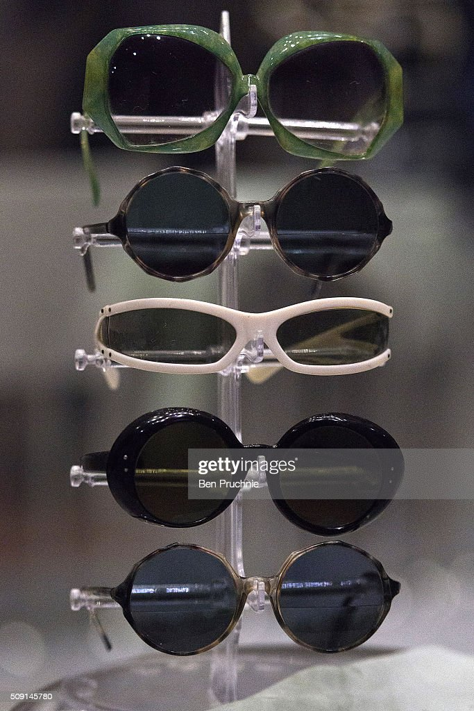 A collection of sunglasses worn by Princess Margaret is displayed at the Fashion Rules Exhibition at Kensington Palace on February 9, 2016 in London, England. The exhibition, that re-opens to the public on February 11, contains pieces including the dress Queen Elizabeth II wore for her official Silver Jubilee photograph and a dress worn by Diana, Princess of Wales for her last official photo shoot with famed photographer Mario Testino