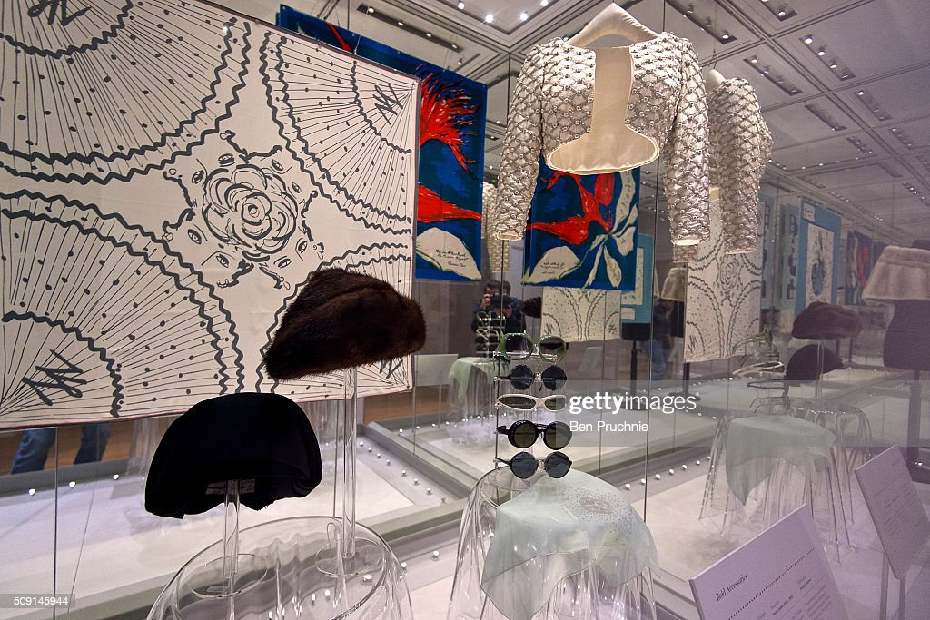 A collection of sunglasses worn by Princess Margaret is displayed next to a Bolero jacket and a few hats at the Fashion Rules Exhibition at Kensington Palace on February 9, 2016 in London, England. The exhibition, that re-opens to the public on February 11, contains pieces including the dress Queen Elizabeth II wore for her official Silver Jubilee photograph and a dress worn by Diana, Princess of Wales for her last official photo shoot with famed photographer Mario Testino