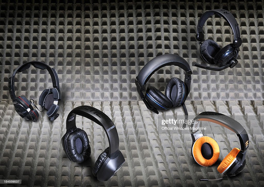 A collection of surround sound headphones. (L to R) Sony DRGA500, Creative Sounds Blaster Tactic 3D Omega, Corsair Vengeance 1300, SteelSeries 7H Fnatic Limited Edition and Razer Megalodon. Photographed during a studio shoot for Official Windows Magazine, March 20, 2012.