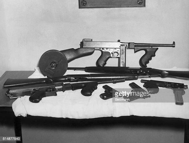 A collection of the weapons used at various times by John Dillinger Undated photograph