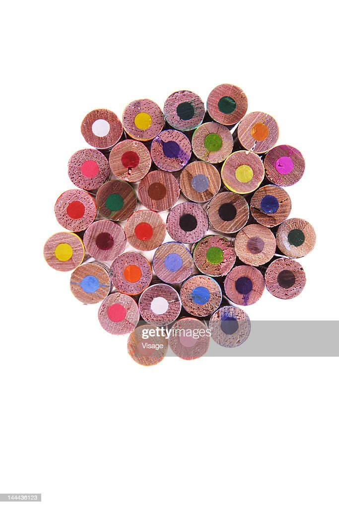 Collection of unused colouring pencils : Stock Photo