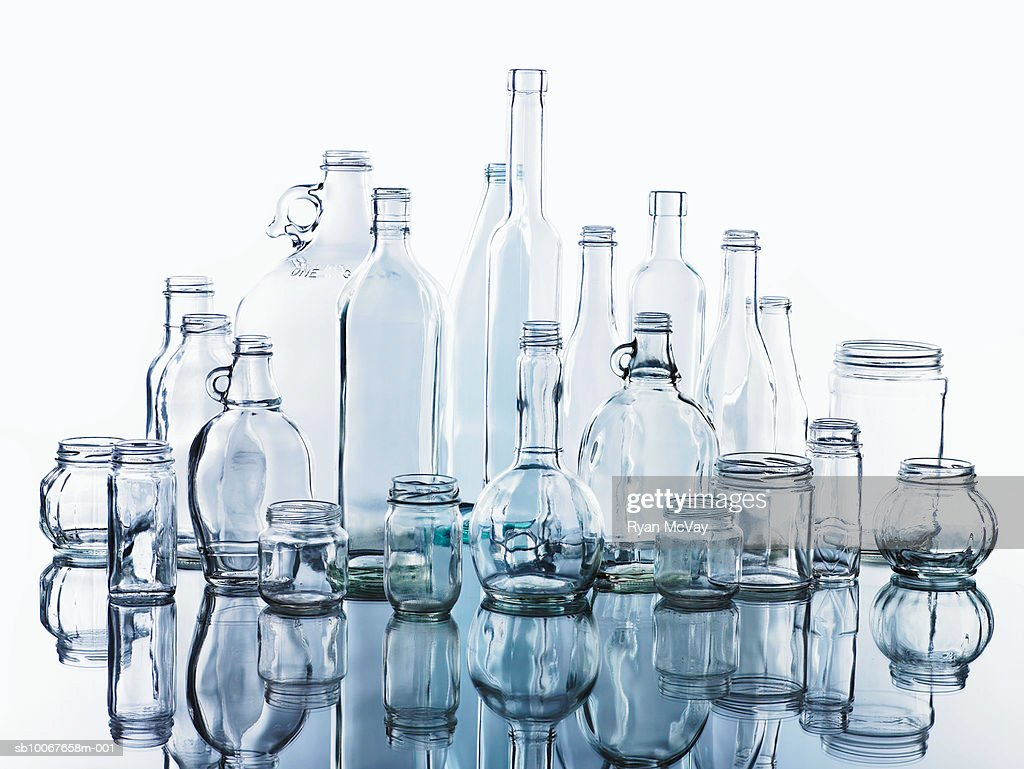 Collection of various glass bottles and jars : Stock Photo