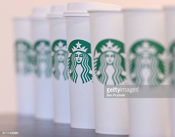 A collection of venti sized Starbucks take away cups on February 18 2016 in London England Yesterday Action on Sugar announced the results of tests...