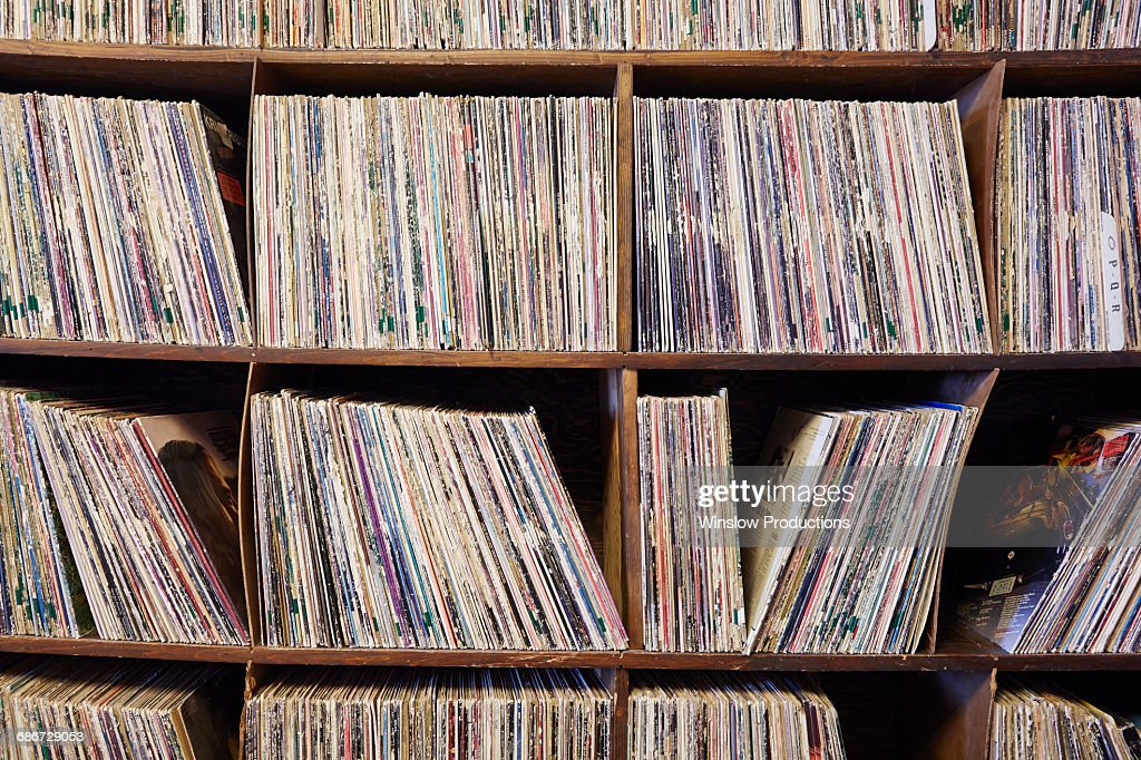 Collection of vinyl LP records : Stock Photo