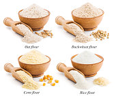 Collection of whole grain flour isolated on white background