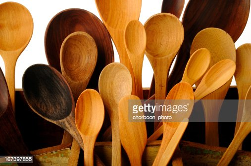 collection of wooden kitchen utensils : Stock Photo