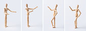 Business and design concept - collection of wooden mannequin isolated on white background