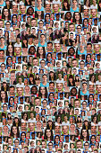 Collection of young people background collage large group smiling faces social media
