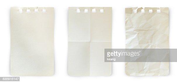 Colección old nota de los documentos sobre fondo blanco. : Foto de stock