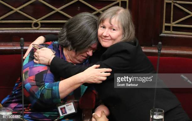 Colleen Hartland MP is congratulated as the bill passes inside of the Parliament of Victoria on November 22 2017 in Melbourne Australia Government...