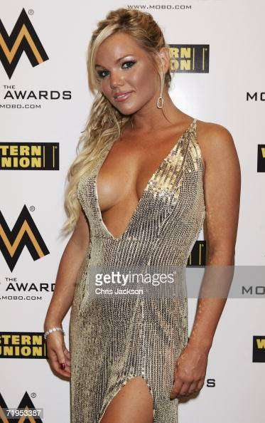 Colleen Shannon of Love Island poses backstage in the awards room at the MOBO Awards 2006 at the Royal Albert Hall on September 20 2006 in London...