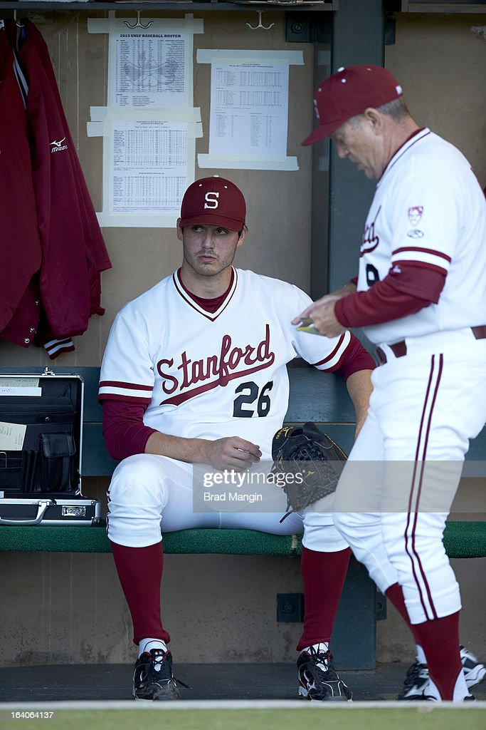 Stanford Mark Appel (26) in dugout during game vs UNLV at Klein Field at Sunken Diamond. Appel is a top pitching prospect. Brad Mangin F320 )