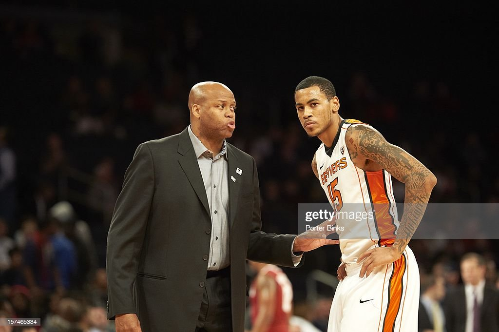 2K Sports Classic Oregon State coach Craig Robinson with Nick Jacobs during game vs Alabama at Madison Square Garden New York NY CREDIT Porter Binks