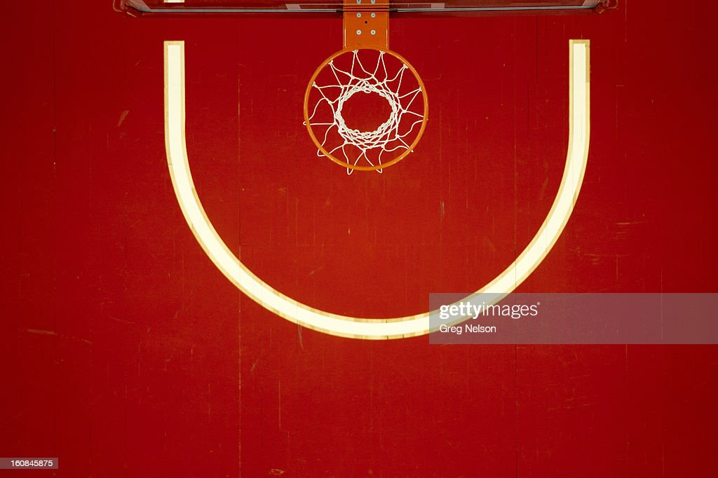 Aerial view of basket and empty court during North Carolina State vs Miami game at PNC Arena. Greg Nelson F3 )