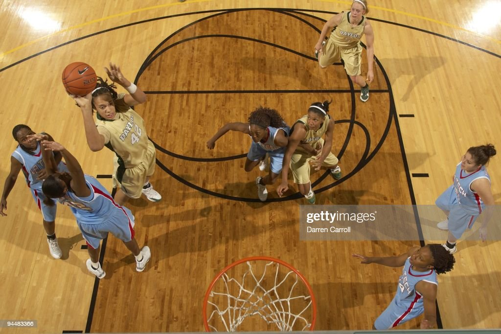 Aerial view of Baylor <a gi-track='captionPersonalityLinkClicked' href=/galleries/search?phrase=Brittney+Griner&family=editorial&specificpeople=6836945 ng-click='$event.stopPropagation()'>Brittney Griner</a> (42) in action vs Louisiana Tech. Waco, TX 12/5/2009