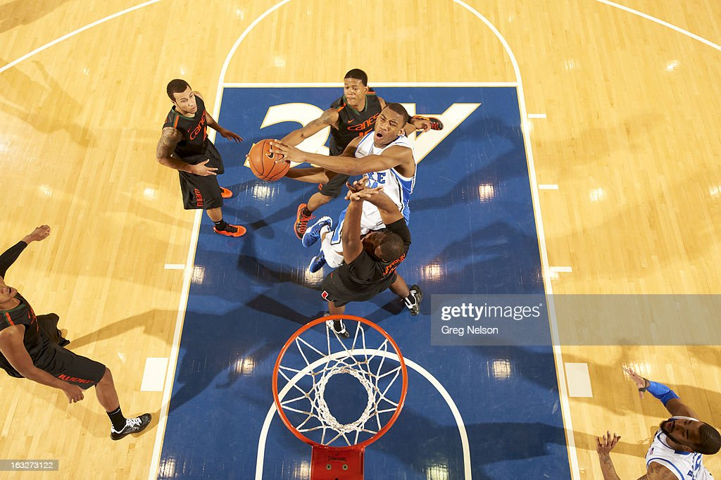 Aerial view of Duke Rasheed Sulaimon (14) in action vs Miami at Cameron Indoor Stadium. Greg Nelson F20 )